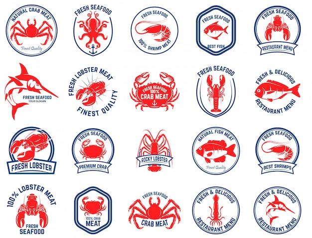 シーフードマーケットのエンブレムのセットです。ロゴ、ラベル、エンブレム、記号の要素。図