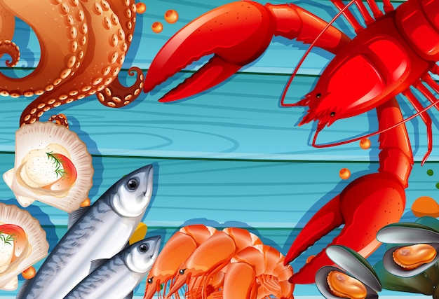 Набор морепродуктов на деревянном фоне