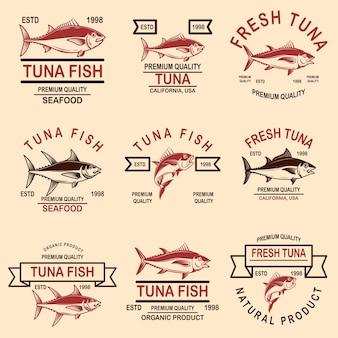 Набор этикеток тунца из морепродуктов.