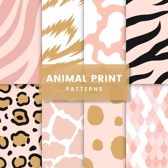 Set of seamless animal print pattern vectors