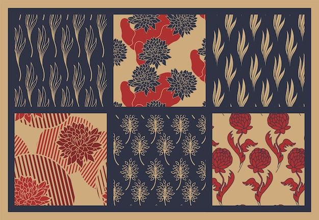 花の装飾品とシームレスな背景のセット。セラミック、ファブリック、装飾壁紙、その他多くの用途に最適