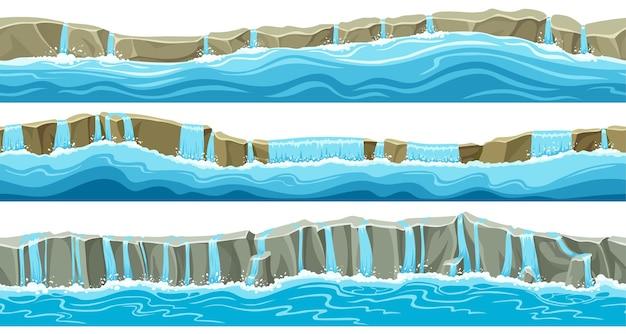 Набор бесшовных границ серого каменного водопада