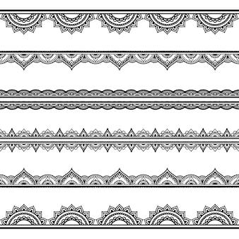 一時的な刺青、ヘナの描画とタトゥーのシームレスな境界線パターンのセット。エスニックオリエンタル、インドスタイルの装飾。落書き飾り。アウトライン手描きベクトルイラスト。