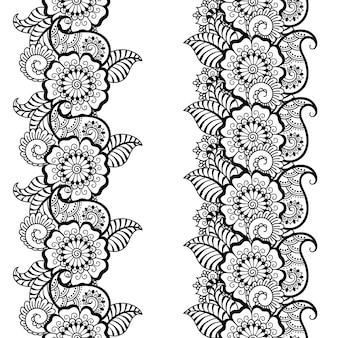 Набор бесшовных границ для менди, рисования хной и татуировки. оформление в этническом восточном, индийском стиле. орнамент каракули. наброски рука рисовать векторные иллюстрации.