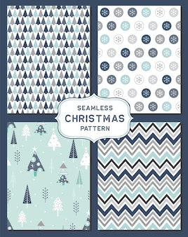 Набор бесшовных рождественских фонов