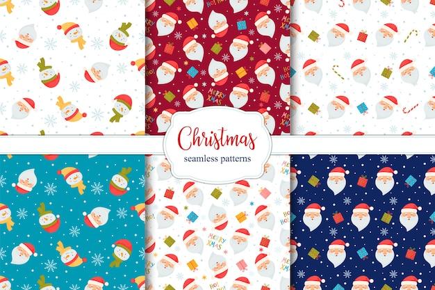 Набор бесшовных рождественских узоров с санта, леденцом, подарками и снеговиками.