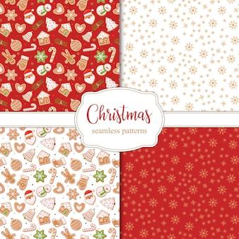 Набор бесшовных рождественских узоров со снежинками и различными пряниками. .