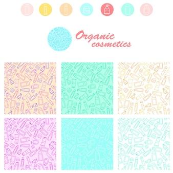 Набор бесшовных косметических узоров. линейный стиль. тюбики шампуня, мыла и крема. дизайн органической косметики. иконка для магазина или спа. векторная иллюстрация.