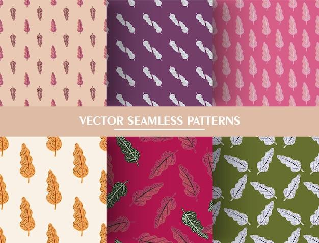 잎 요소와 원활한 낙서 패턴의 집합입니다.