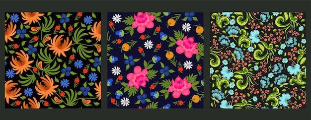 緑に分離されたシームレスな花柄のセット
