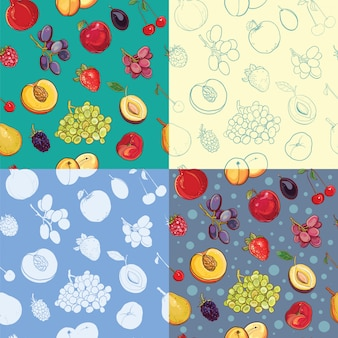 Набор бесшовных фруктов и ягод с яблоком, виноградом, сливой, клубникой, абрикосом, персиком, грушей, вишней, гранатом, ежевикой. силуэт, роспись, контурные фоны.