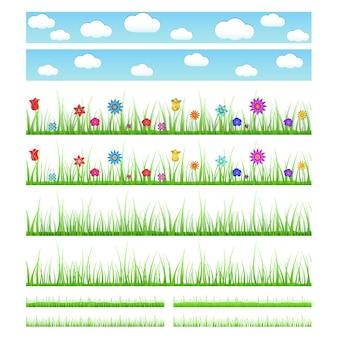 花のある、ない、影のある、ない、大小のシームレスな草のセット