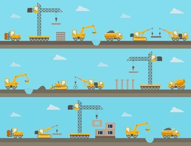 建設機械のアイコンとシームレスな水平建設の背景のセット。ベクトルイラスト