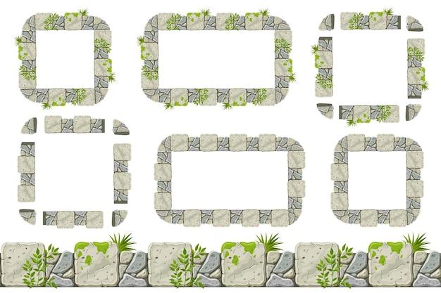 이끼와 잔디가 있는 매끄러운 오래된 회색 바위 테두리 및 프레임 세트 프리미엄 벡터