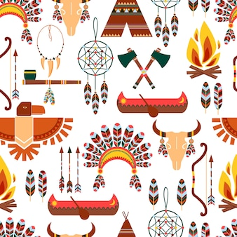 さまざまなグラフィックデザインで使用されるシームレスなパターンのアメリカの部族のネイティブシンボルのセット