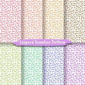 Набор бесшовных текстур кожи животных леопард гепард ягуар тигр
