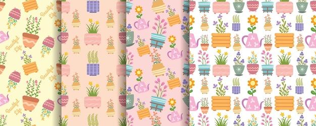 장식 된 냄비와 함께 완벽 한 패턴 아름 다운 꽃 세트