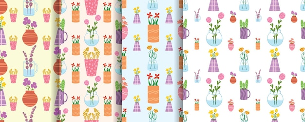 꽃병이 장식된 매끄러운 패턴의 아름다운 꽃 세트