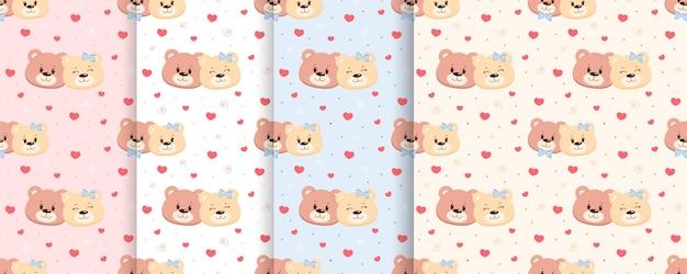 사랑에 완벽 한 패턴 커플 곰 세트