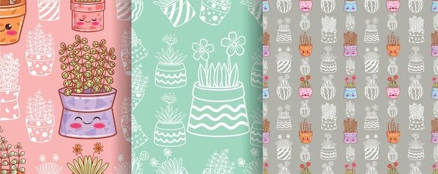 장식 된 냄비와 원활한 패턴 귀여운 꽃 세트