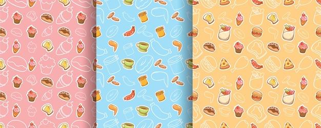 シームレスなパターンのかわいい食べ物や飲み物の漫画のキャラクターのセット