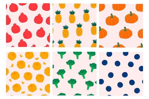 果物と野菜のシームレスなパターンデザインのセットカバー生地テキスタイルのデザイン