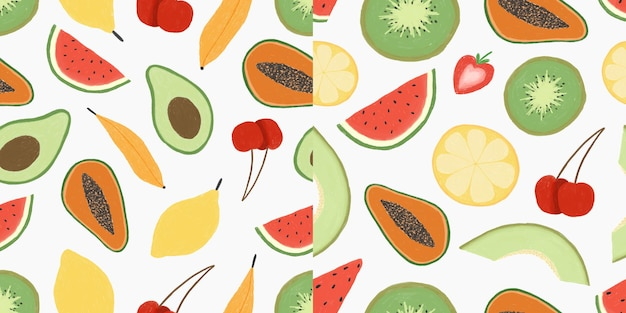 シームレスなパターン手描きフルーツイラストプレミアムベクトルのセット