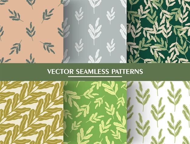 ヴィンテージの葉の枝のシルエットとミニマルなスタイルのシームレスなパターンのセット。