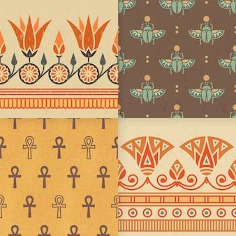 エジプトの飾りのシームレスパターンのセット。