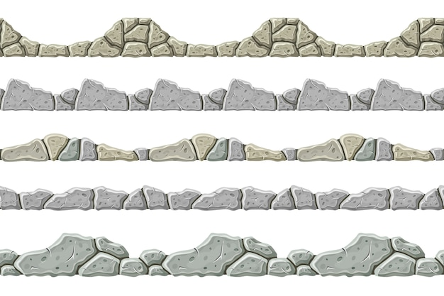 シームレスパターンの古い灰色の石のボーダーのセットです。