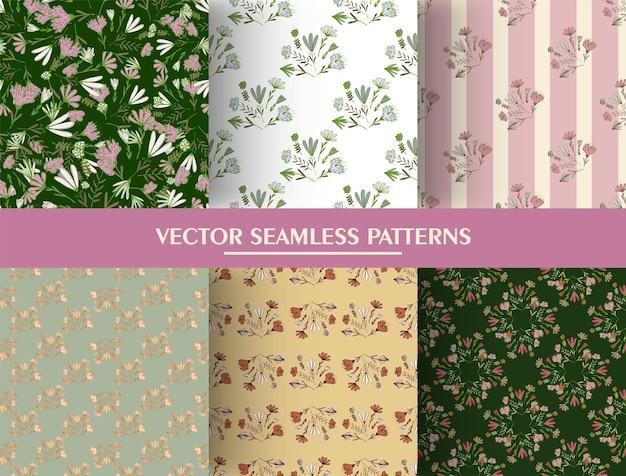 植物の花の花束の飾りとシームレスなパターンのセットです。