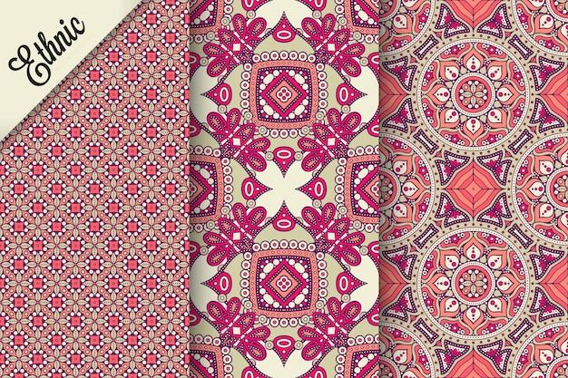 幾何学的な要素とシームレスなパターンのセット