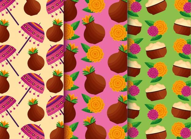 オナム祭をテーマにしたシームレスなパターンのセット