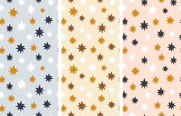 シームレスなパターンのセット。抽象的なスタイルのカラフルな星。ベクトルイラスト