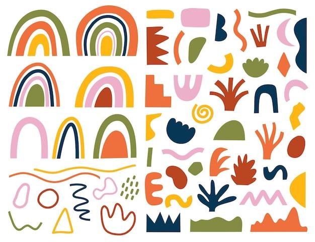 원활한 패턴 손으로 그린 다양한 모양과 낙서 개체의 집합입니다. 추상 현대 현대 유행 벡터 일러스트입니다. 스탬프 텍스처
