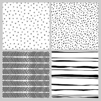 흑인과 백인 낙서에 완벽 한 패턴의 집합