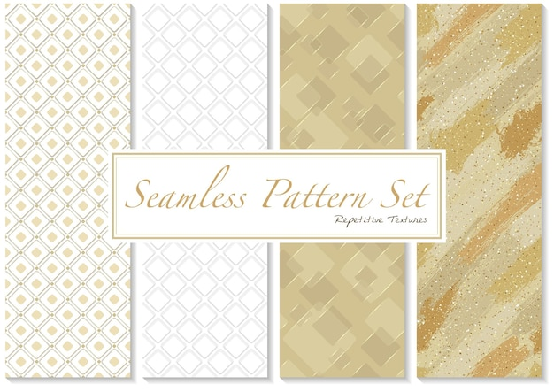 ゴールドとホワイトの色のシームレスなパターンのセット