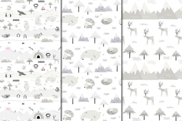 アラスカのシームレスパターンのセットです。自然と動物、エスキモー。スカンディスタイル