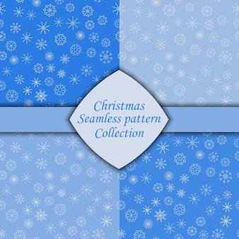 さまざまな雪片のシームレスなパターンのセット