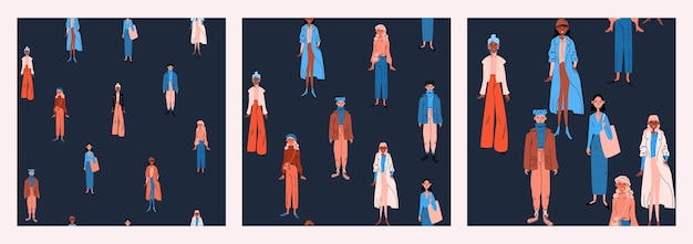 明るいカジュアルな服装の女性のシームレスなパターンのセット