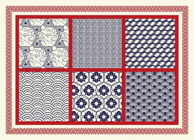 アジアをテーマにしたシームレスなパターンのセット。布地のプリント、装飾、ポスター、パッケージング、その他多くの用途に最適です。パターンの周りのフレームは別のグループにあります。