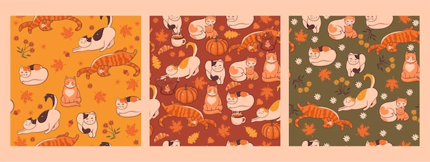 秋の猫とのシームレスなパターンのセット。