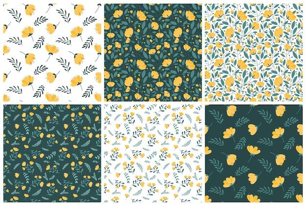 Набор бесшовных паттернов с ярко-желтыми цветами на темно-зеленом и белом фоне