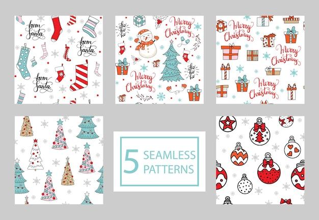 Набор бесшовных паттернов с элементами рождества, изолированные на белом фоне. векторная иллюстрация.