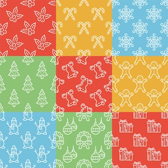 クリスマスのライン要素とシームレスなパターンのセットです。