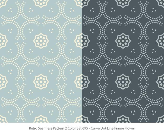 곡선 도트 프레임 꽃과 완벽 한 패턴의 집합 프리미엄 벡터