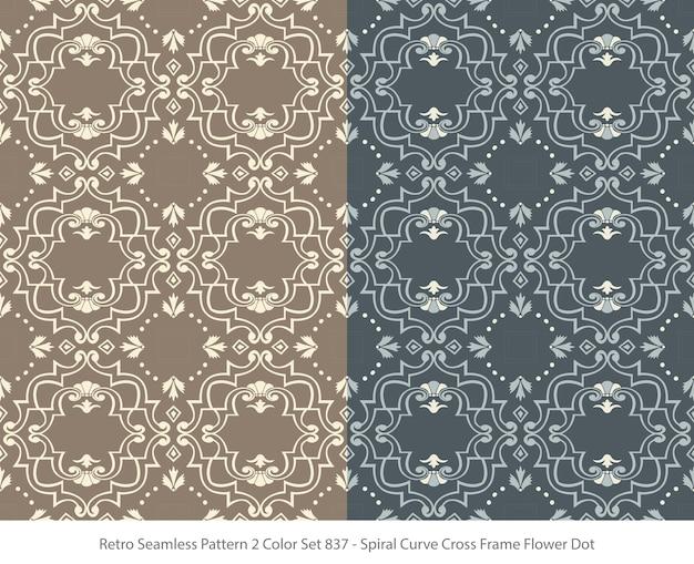 곡선 프레임 꽃 도트와 완벽 한 패턴의 집합
