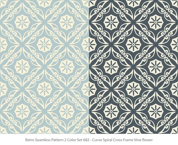곡선 프레임 포도 나무 꽃과 완벽 한 패턴의 집합