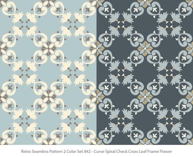 곡선 잎 프레임 꽃과 완벽 한 패턴의 집합