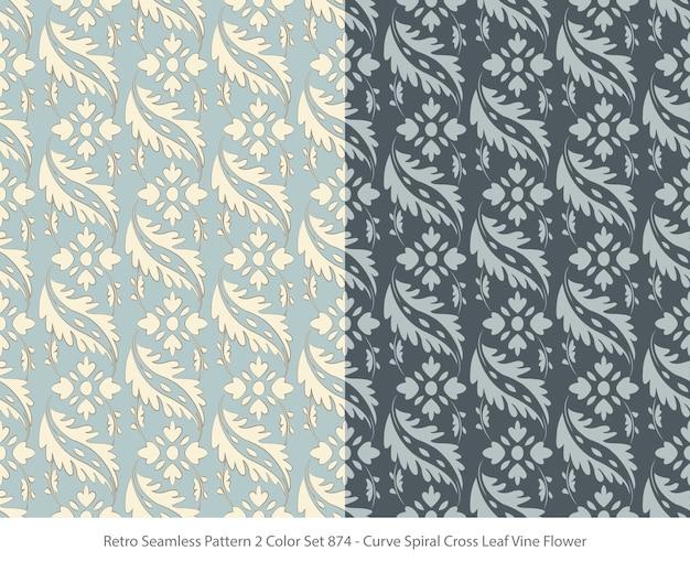 곡선 잎 덩굴 꽃과 완벽 한 패턴의 집합